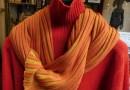 Orange-roter Rollkragenpullover